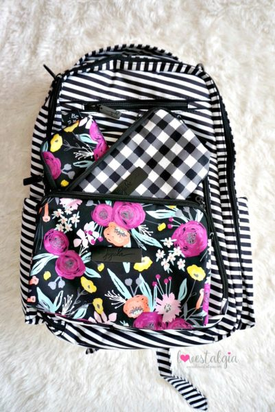 Jujube black and bloom gingham style print comparison floral diaper bag black magic BRB