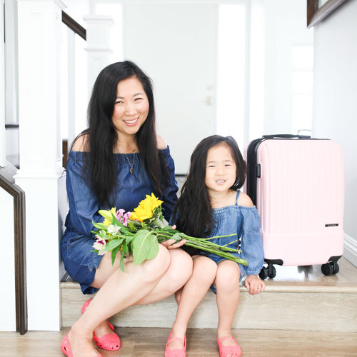 mommy and me, mommy and daughter, calpak lugggage, millennial pink luggage, pink luggage, twinning outfits