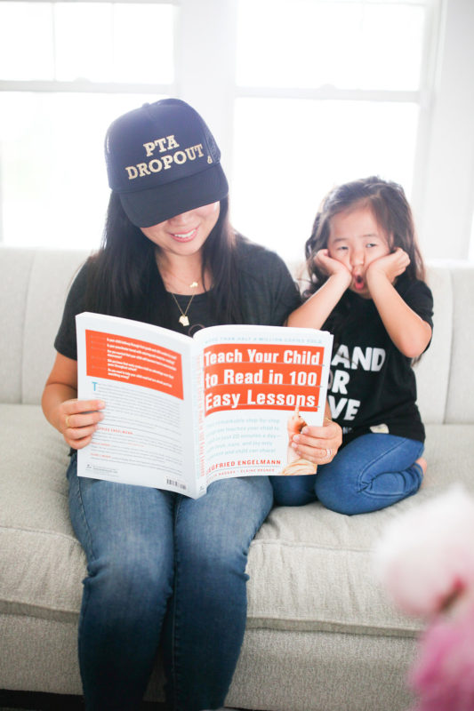 PTA Dropout, how to teach your child to read in 100 easy lessons, homeschooling kindergarten, homeschool, kindergarten, school at home, mommy and daughter, mother trucker hat, mommy and me, loved by hannah and eli, wire and honey, tiny tags