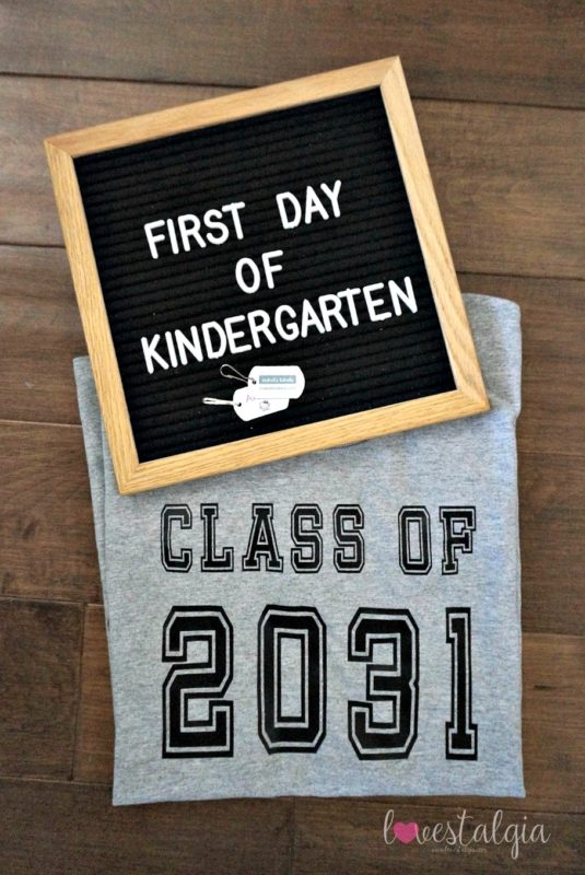 homeschooling, first day of school outfit, target style, letterboards, kindergarten. handprint shirt
