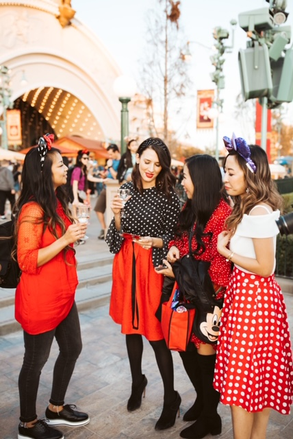 disneyland, disney california adventures, girls night out, lunar new year disneyland, get your ears on, mickey, minnie, disney style, minnie style, rock the dots, polka dots, get your ears on