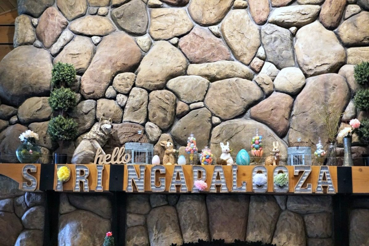 great wolf lodge, spring a palooza, family vacation, family of three, travel tips with kids, family of three, lobby, easter, spring decorations