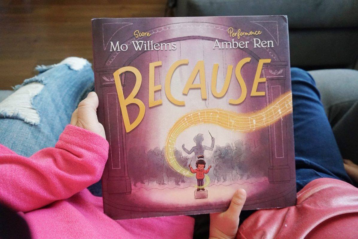because, mo willems, new book, reading, literacy, family reading, children's book, amber ren