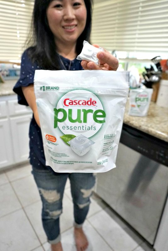 cascade pure essentials, dishewasher soap, cascade, house hold must have