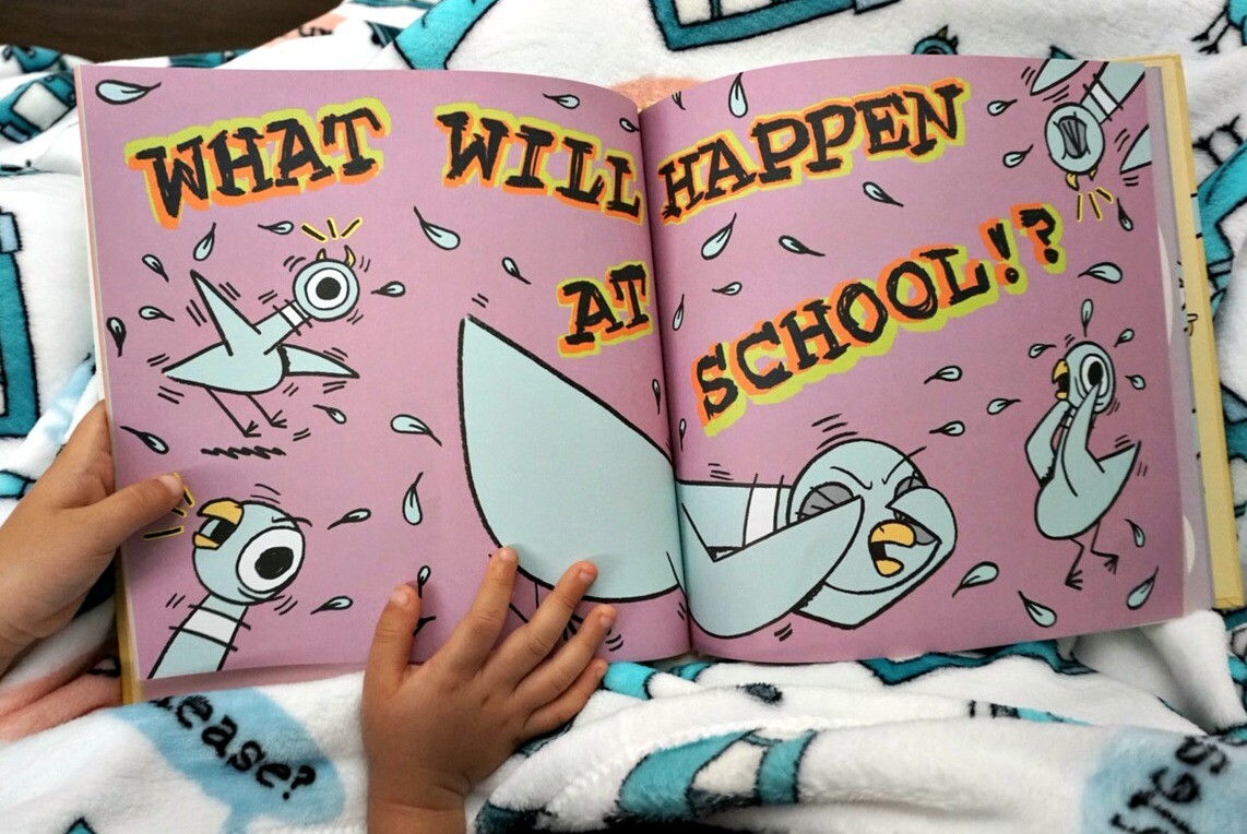 mo willems, pigeon has to go to school, read more willems, disney books, mo willems party, books for kindergarten, first grade books