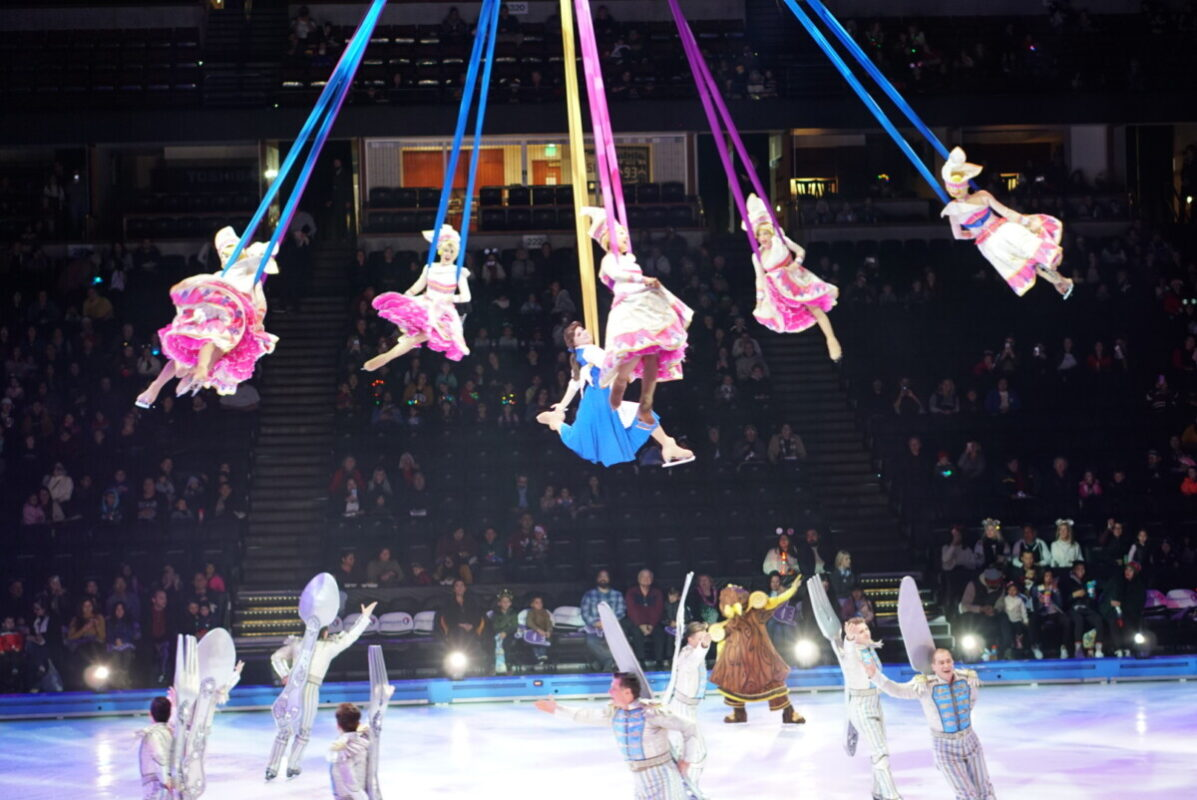 disney on ice, mickeys search party, honda center, beauty and the beast, aerial stunts