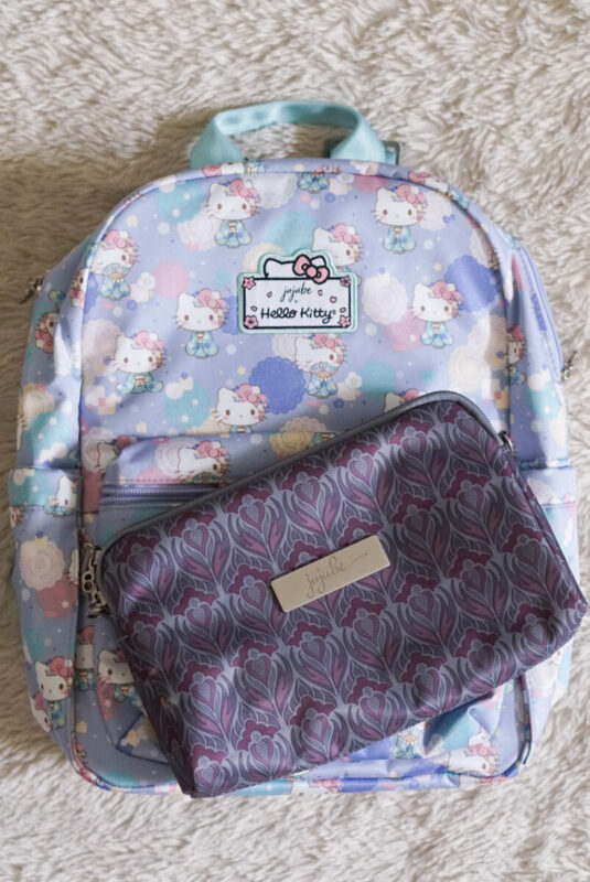 jujube, hello kitty kimono, midi backpack, hello kitty, jujube print comparisons, amethyst ice