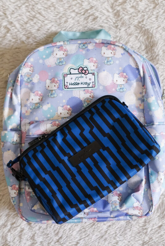 jujube, hello kitty kimono, midi backpack, hello kitty, jujube print comparisons, electric black