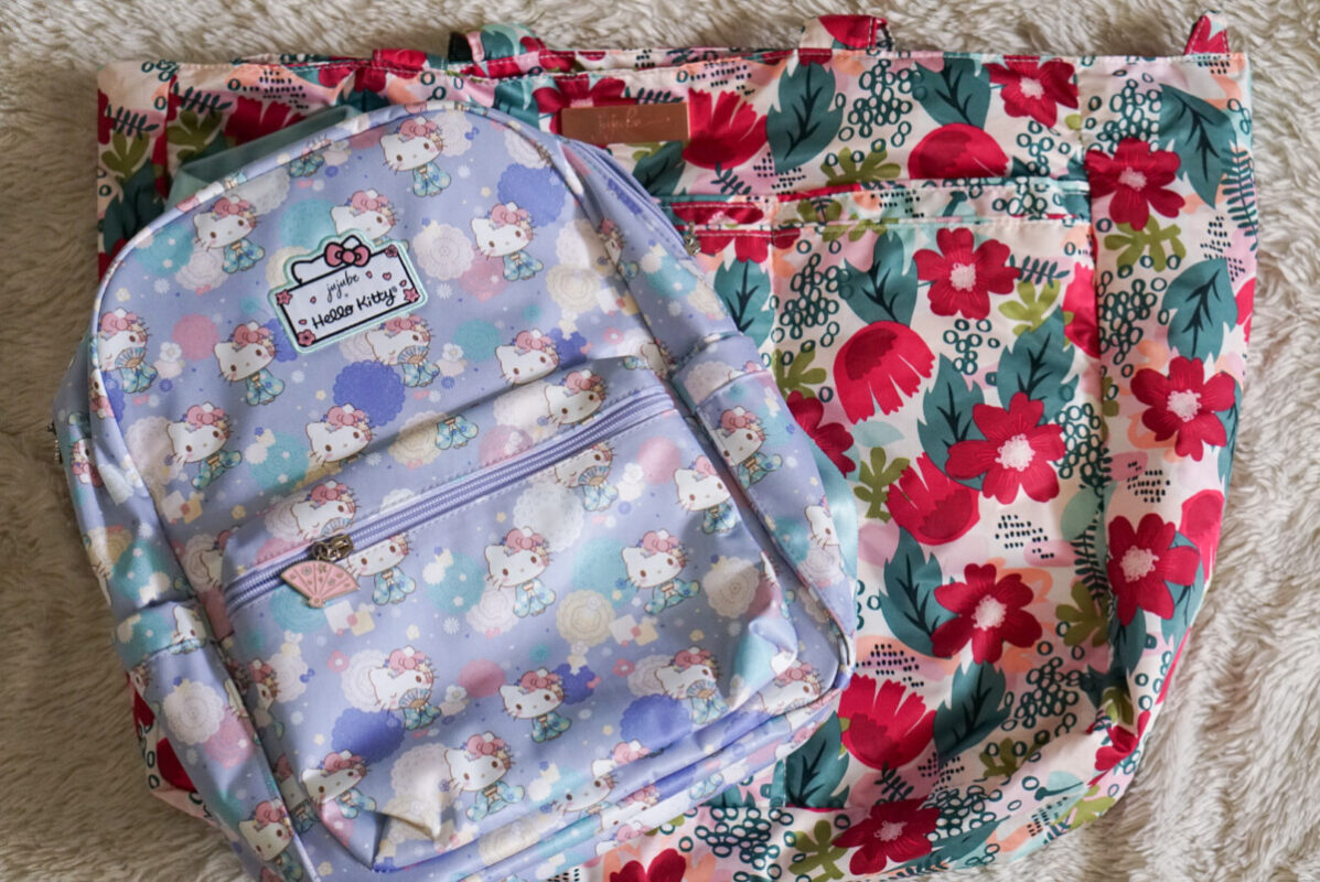 jujube, hello kitty kimono, midi backpack, hello kitty, jujube print comparisons, forget me not