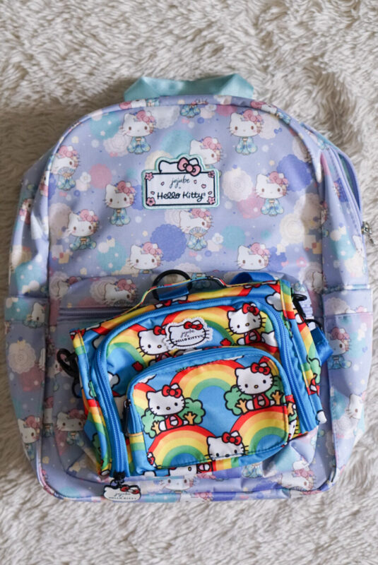 jujube, hello kitty kimono, midi backpack, hello kitty, jujube print comparisons, hello rainbow
