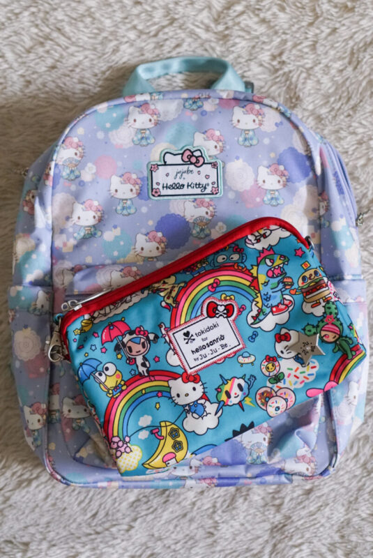 jujube, hello kitty kimono, midi backpack, hello kitty, jujube print comparisons, rainbow dreams