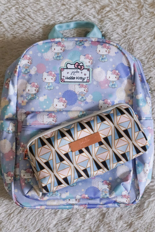 jujube, hello kitty kimono, midi backpack, hello kitty, jujube print comparisons, rose colored glass
