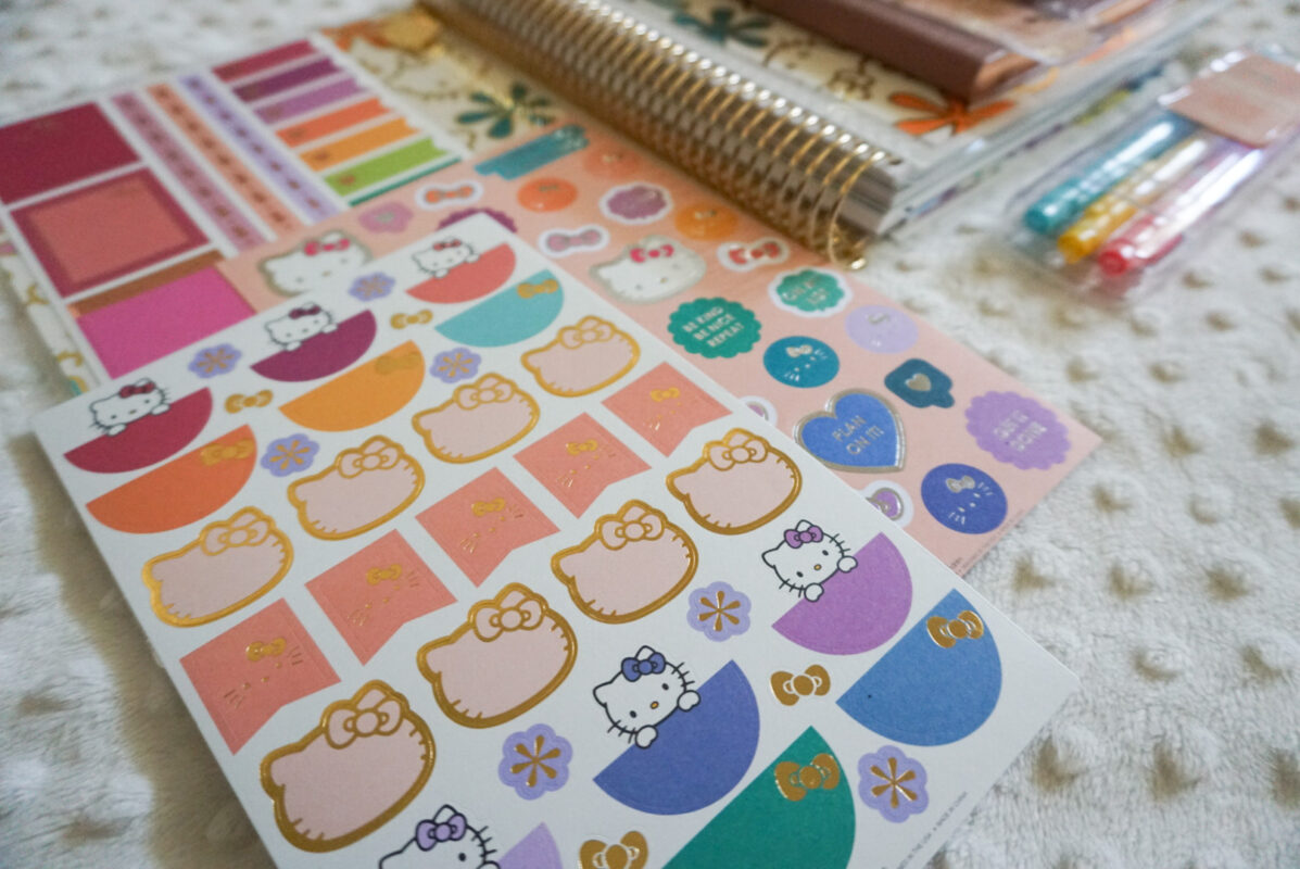 hello kitty, erin condren, life planner, stickers, sanrio